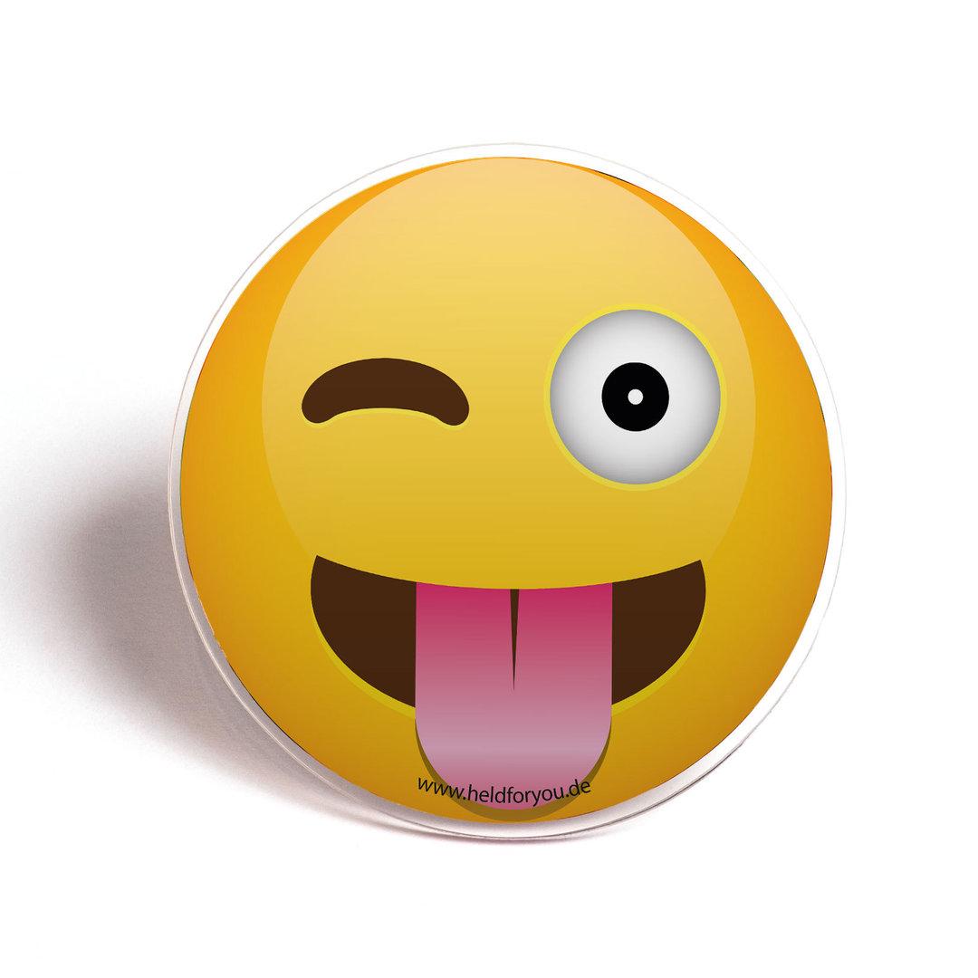 HELD4YOU-Klebematte im Design Zwinker-Emoji - HELD4YOU